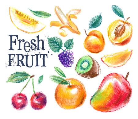 comiendo frutas: fruta fresca en un fondo blanco. ilustración vectorial