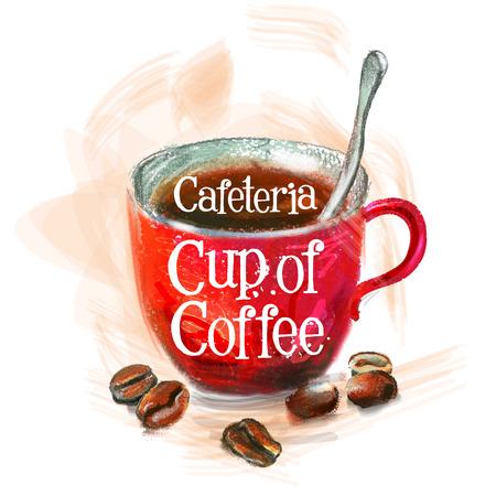 frijoles rojos: Taza de café sobre un fondo blanco. ilustración vectorial