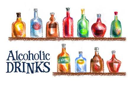distilled: alcoholic beverages on a white background. sketch. illustration