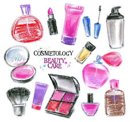 set of cosmetics on a white background. illustration, sketch illustration