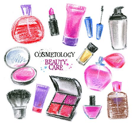 set of cosmetics on a white background. illustration, sketch illustration