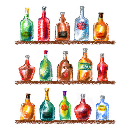 bourbon whisky: alcoholic beverages, drinks on a white background. sketch