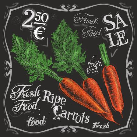 halm: ripe carrot on a black background. vector illustration Illustration