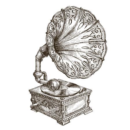 vintage: música retro em um fundo branco. ilustração Ilustração