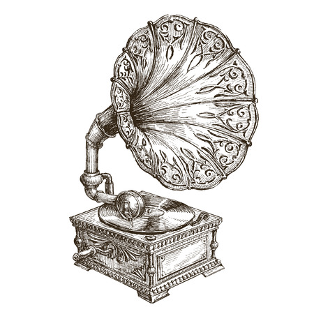 record: retro music on a white background. illustration Illustration