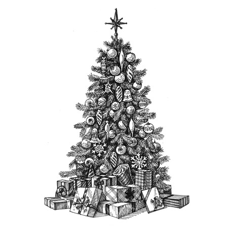 Christmas tree and gifts on a white background. sketch