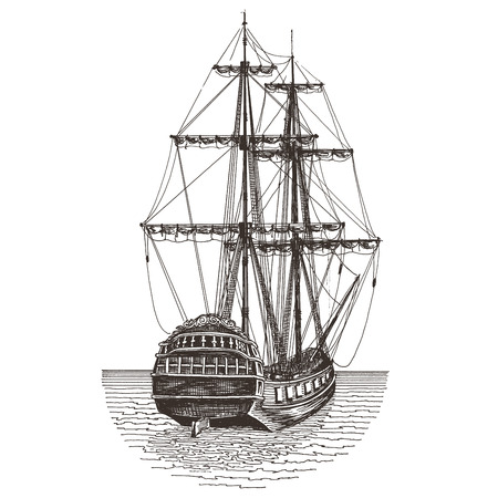 nautic: ship on a white background. illustration and sketch