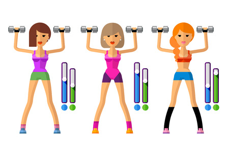 aerobics class: the beautiful young girl on a white background.