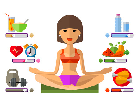 diet plan: beautiful young girl on a white background. vector illustration