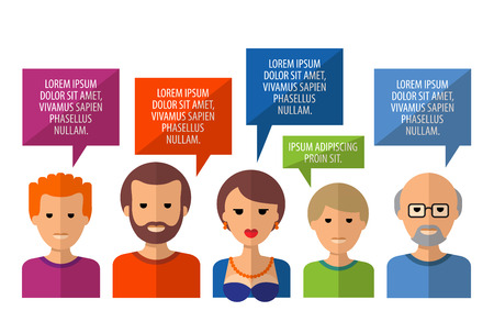 viewpoints: public opinion and the people on a white background.  Illustration