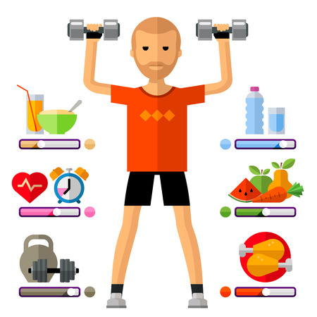 calisthenics: a young man on a white background.  Illustration