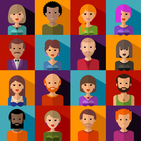 collection of colored icons. people.
