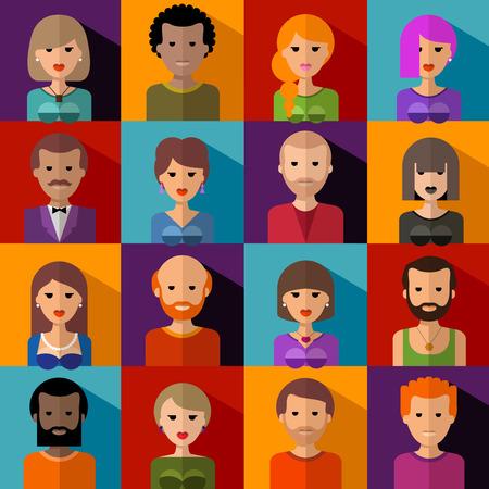 questioning: Sammlung von farbigen Symbolen. Menschen.