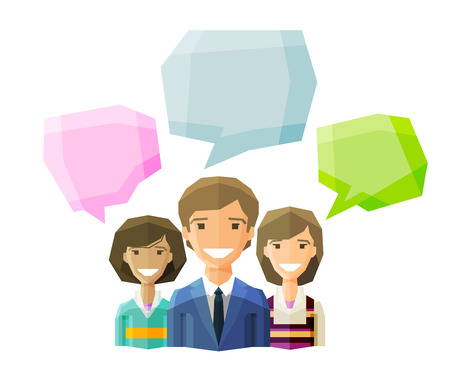 conversation: business people say on a white background. vector illustration Illustration