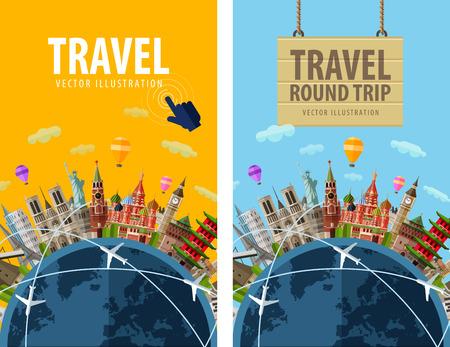 путешествие: поездка. Достопримечательности страны вокруг планеты Земля. векторные иллюстрации