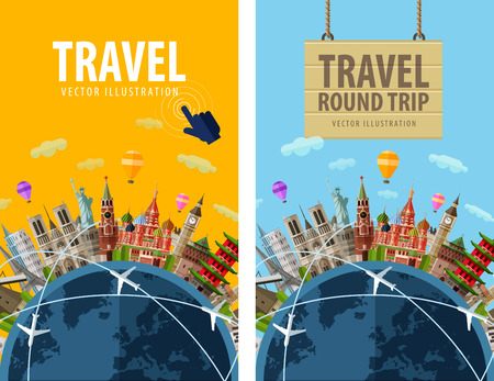 mundo manos: viaje. visitas turísticas países de todo el planeta tierra. ilustración vectorial Vectores