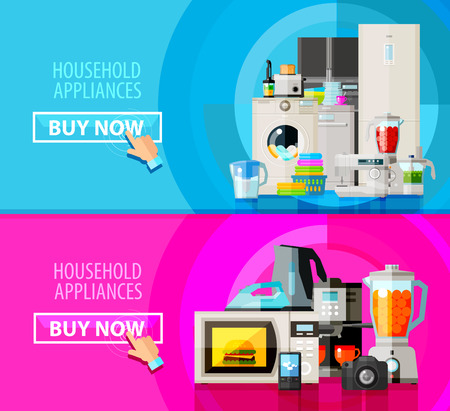 microwave oven: collection of home appliances. vector. flat illustration