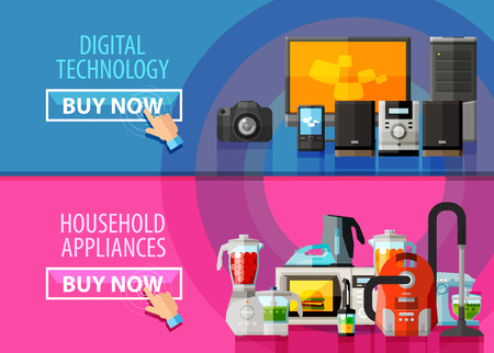 buy online: collection of home appliances. vector. flat illustration