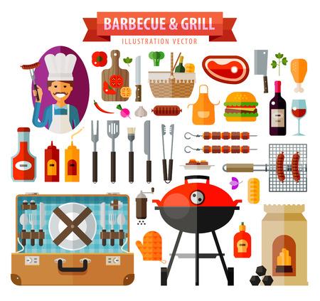 chorizos asados: BBQ. Colecci�n de iconos sobre un fondo blanco. vector. ilustraci�n plana