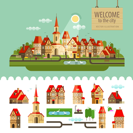 ancient city on the background of nature. vector. flat illustration