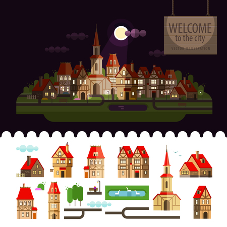 city on the background of nature. vector. flat illustration