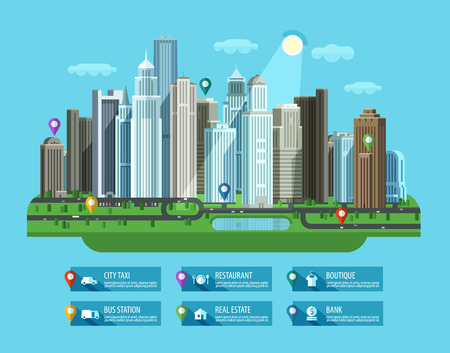highway icon: residential area and construction. vector. flat illustration