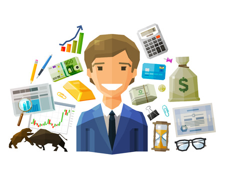 stockbroker: happy businessman and money on a white background. vector. flat illustration