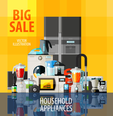 icebox: collection of home appliances. vector. flat illustration