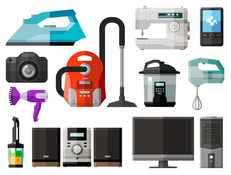tv unit: collection of home appliances. vector. flat illustration