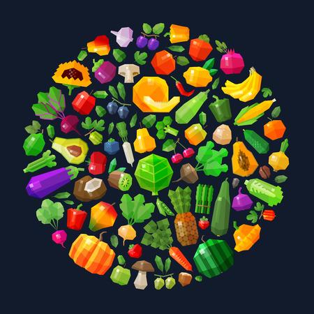 logo de comida: colección de iconos de colores. vector. ilustración plana