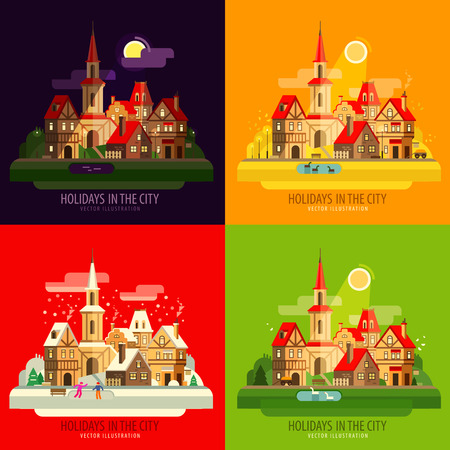 township: collection of old buildings. vector. flat illustration Illustration