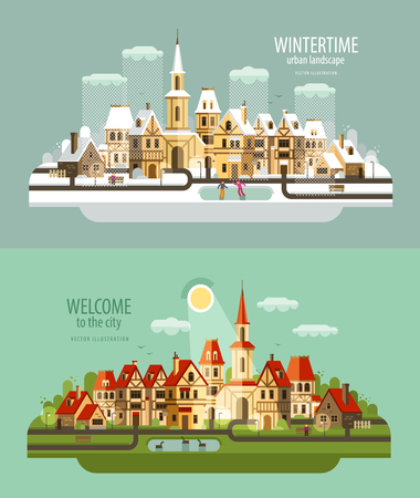 midwinter: collection of old buildings. vector. flat illustration Illustration