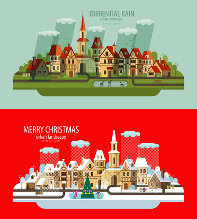 midwinter: a collection of old buildings. vector. flat illustration