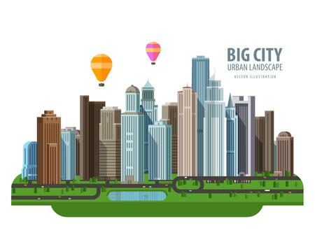 de moderne stad en de weg. vector. platte illustratie