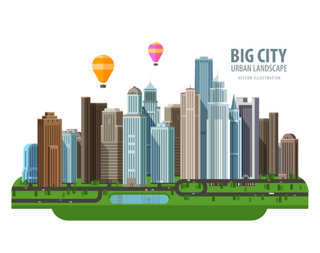 urban landscapes: the modern city and road. vector. flat illustration