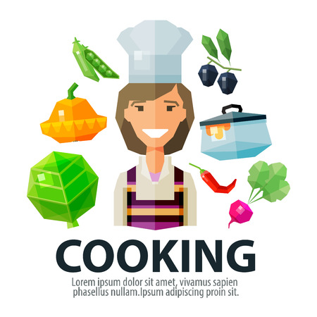kitchenette: young cheerful girl in the hat of the chef. icons set. vector. flat illustration