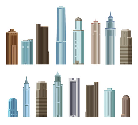 erection: collection of color icons on the theme of the city. vector. flat illustration Illustration