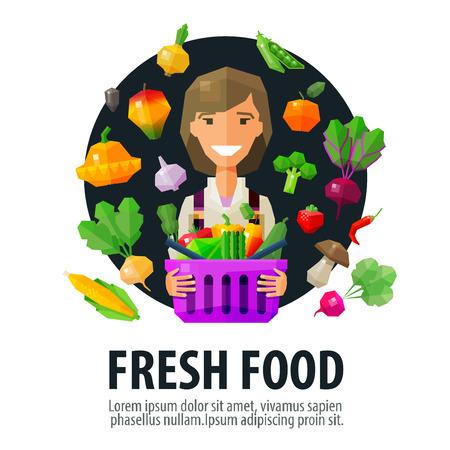 mujer en el supermercado: chica alegre joven con una cesta de frutas y hortalizas frescas. vector. ilustración plana