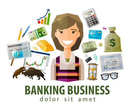 monies: happy young woman and banking. vector. flat illustration