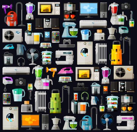 アイコンは、家庭電化製品を設定します。ベクトル。フラットの図  イラスト・ベクター素材
