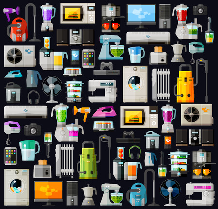 icons set home appliances. vector. flat illustration