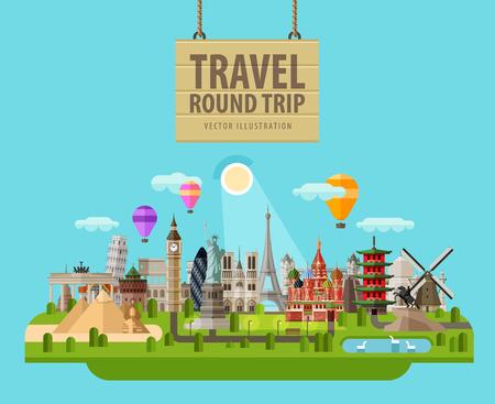 旅行: 世界一起在一組的景點。向量。平圖 向量圖像