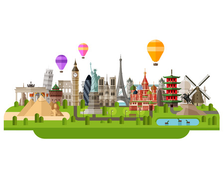 historic architecture of the countries of the world together in a group. vector. flat illustration