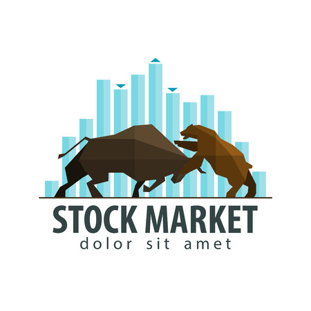 stock exchange symbol - the bull and the bear. vector. flat illustration