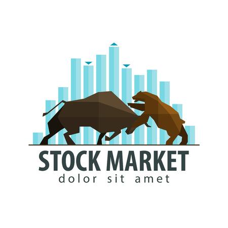 toros bravos: símbolo bolsa de valores - el toro y el oso. vector. ilustración plana