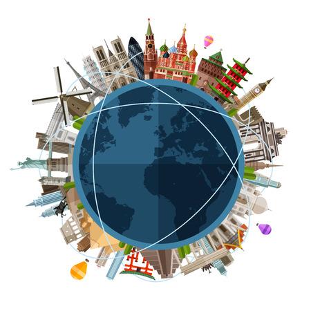globo terraqueo: arquitectura histórica de los países en el mundo en un círculo. vector. ilustración plana