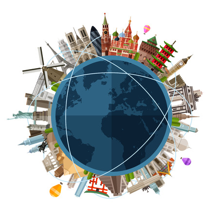 logistics world: historic architecture of the countries on the globe in a circle. vector. flat illustration Illustration