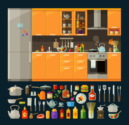 kitchen furniture: modern kitchen furniture and utensils, food. vector. flat illustration