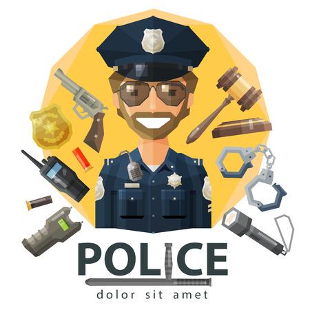 funny policeman in uniform. vector. flat illustration Vector