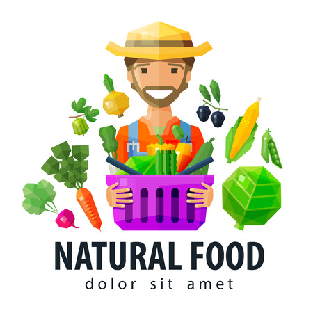 happy farmer: farmer with a basket in his hands with vegetables and fruit. vector. flat illustration